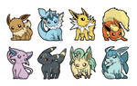 Eeveelution Stickers by hajimikimo