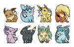 Eeveelution Stickers by hajimikimo