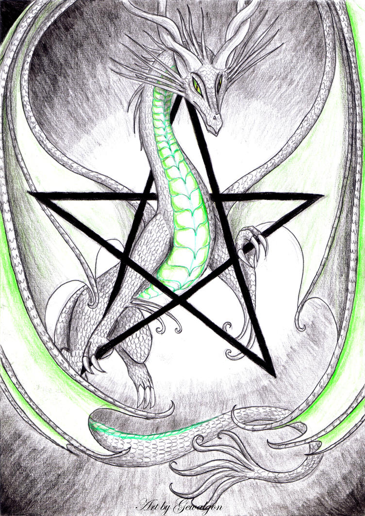 Moondragon pentagram by Gewalgon