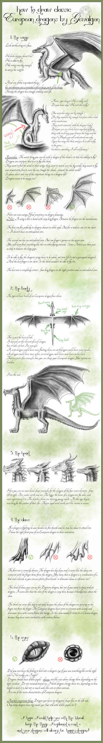 How to draw Classic European Dragons by Gewalgon by Gewalgon