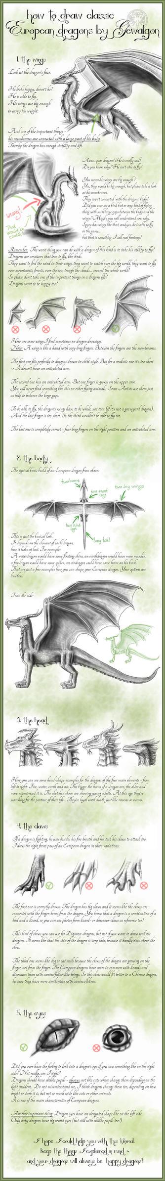 How to draw Classic European Dragons by Gewalgon by Gewalgon