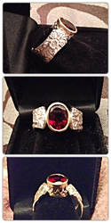 Silver spoon ring, Garnet by SunreiCreations