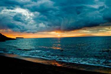 Makena Black Sand Sunset by sean335