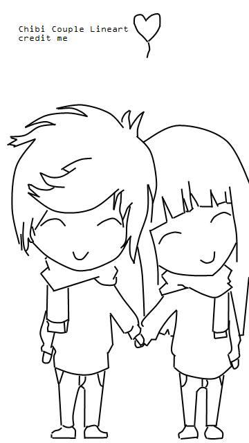 chibi couple lineart by justalittlescene on deviantart