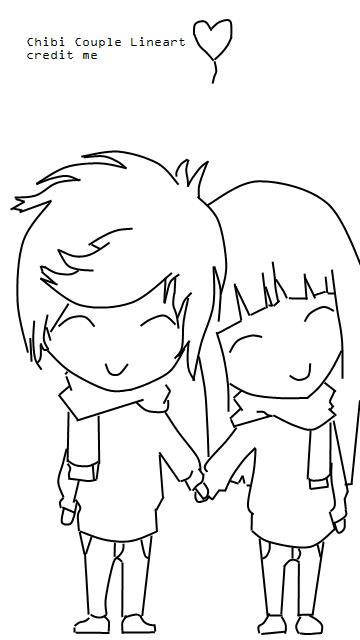 Chibi Couple Lineart by JustAlittleScene on DeviantArt