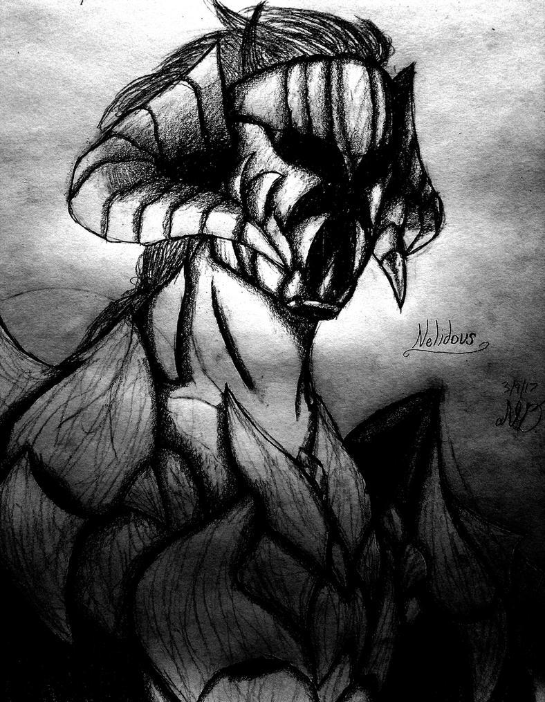 Nelidous, Draconian Swordsman (Upper-shot Sketch) by Nolan-The-Dragconic
