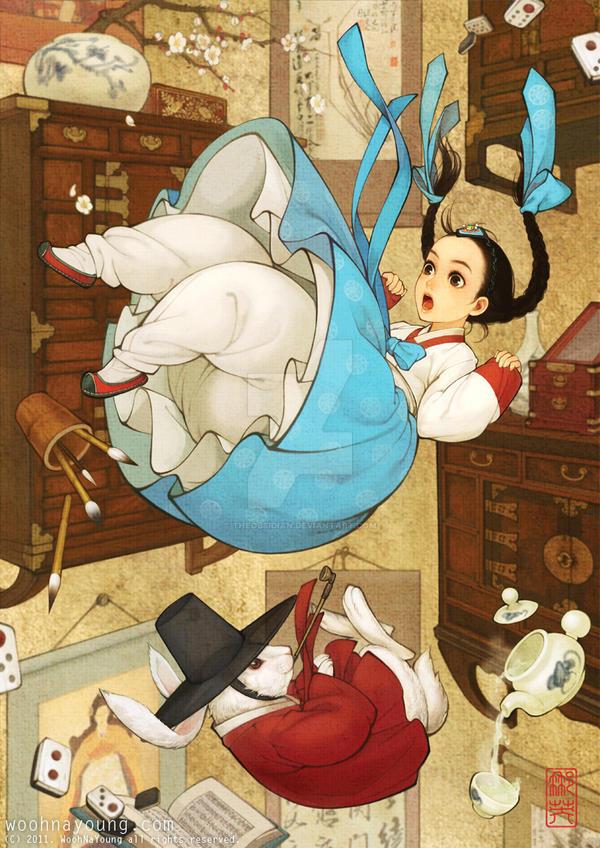 Alice in Wonderland - Korean traditional dress by theobsidian