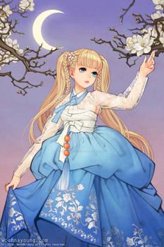 Blonde girl in Blue Hanbok Dress