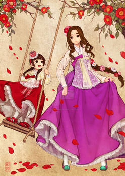 Royal Ladies  in lacy hanbok dress