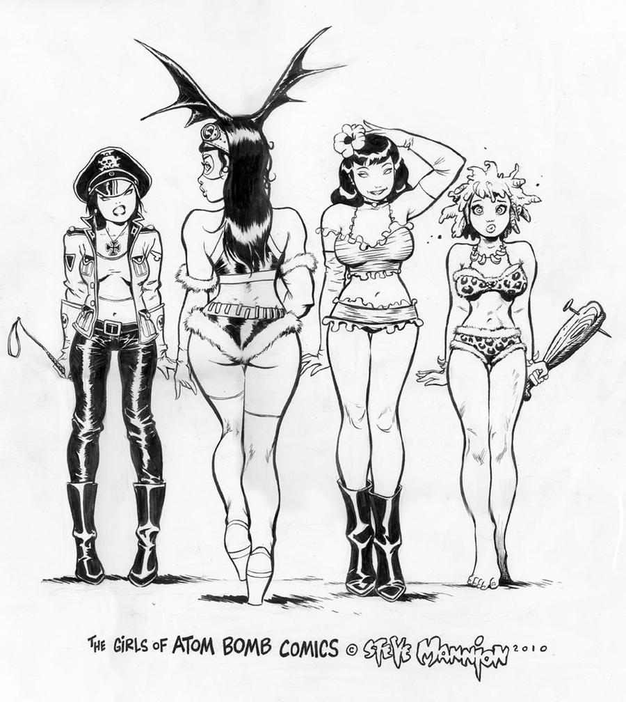 Girls of Atom Bomb Comics by rattlesnapper