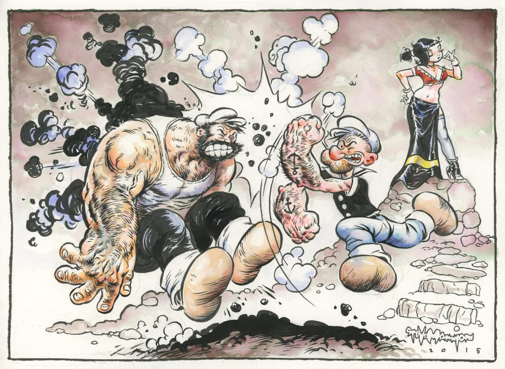 Popeye punching Bluto by rattlesnapper