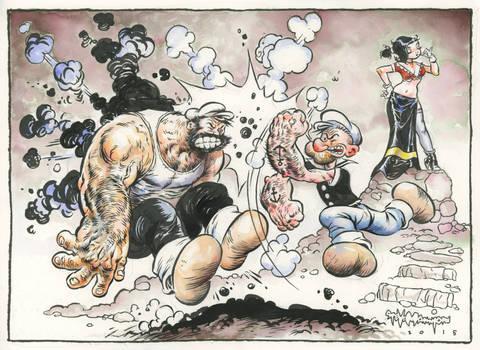 Popeye punching Bluto