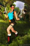 Lara Croft  VS T-Rex - Classic Cosplay
