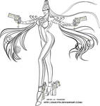 Bayonetta Line Art by Daelyth
