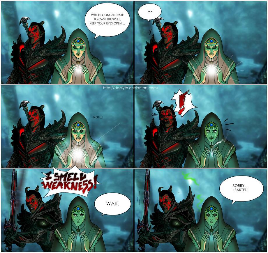 Skyrim comic strip - I smell weakness! by Daelyth