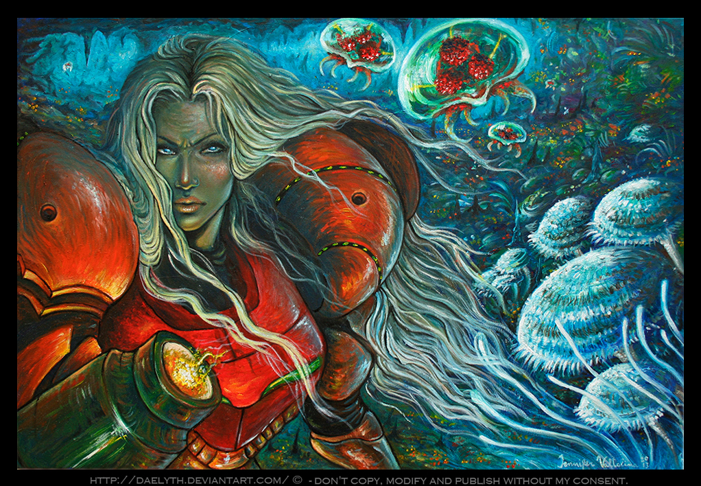 Oil paint inspired by Samus Aran (Metroid) by Daelyth