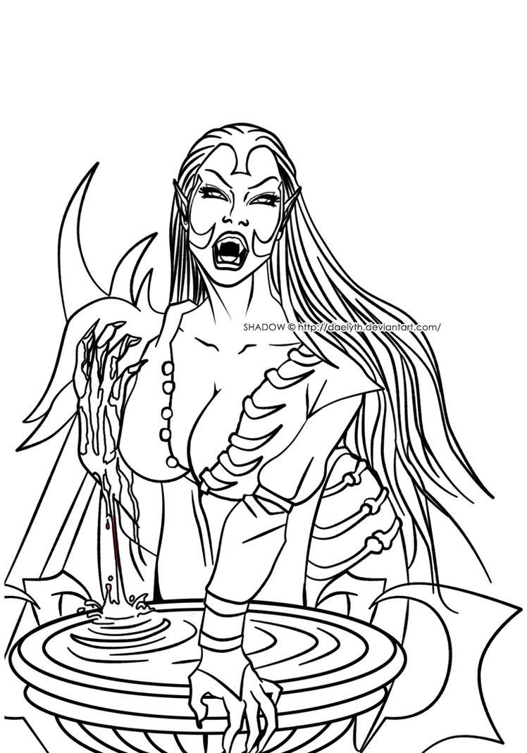 Umah - Blood Omen 2 fan art (Line art) by Daelyth