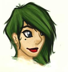 Her funky green hair