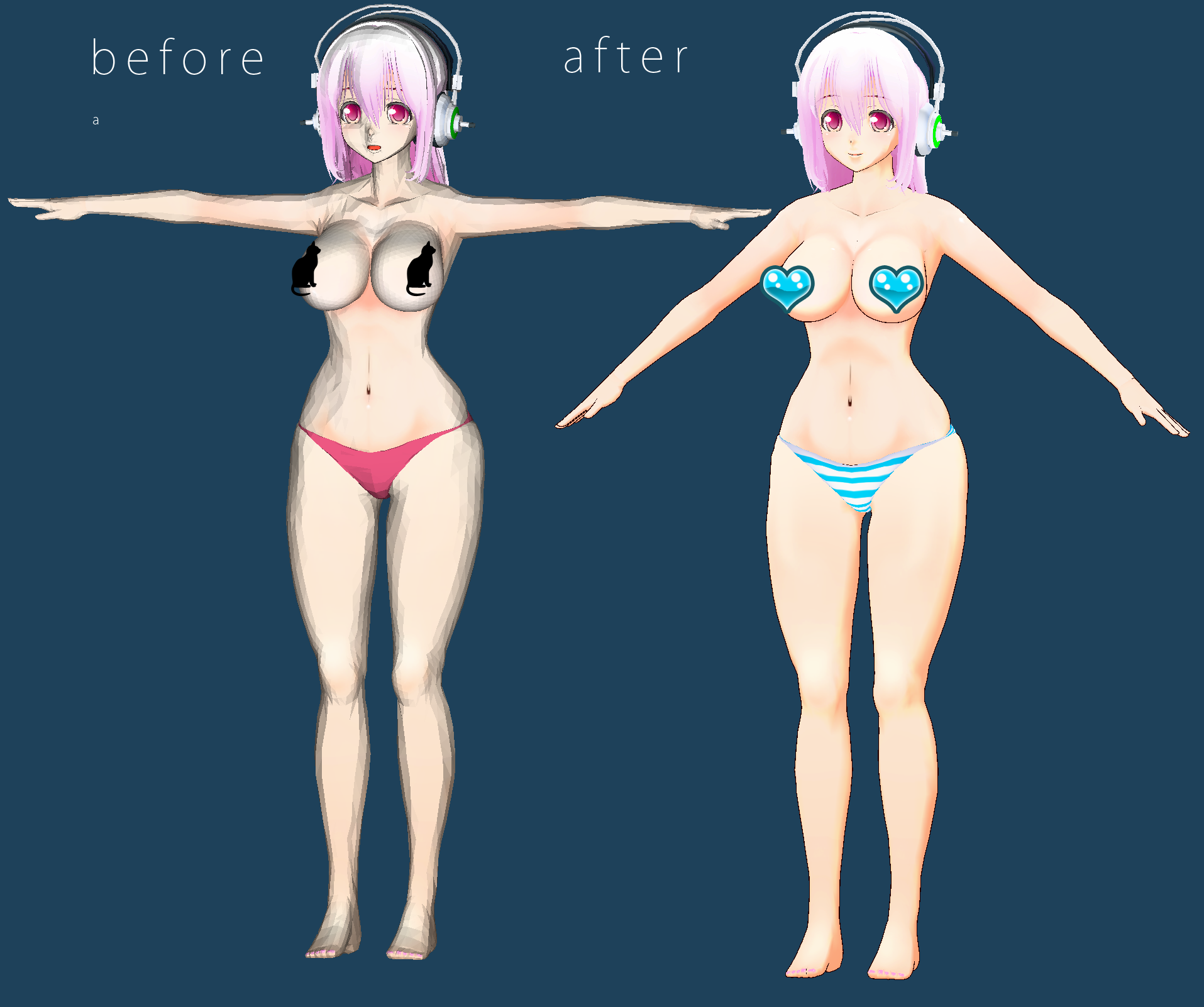 3d mmd super sonico shows off her big tittes and sweet ass in pink cat 3