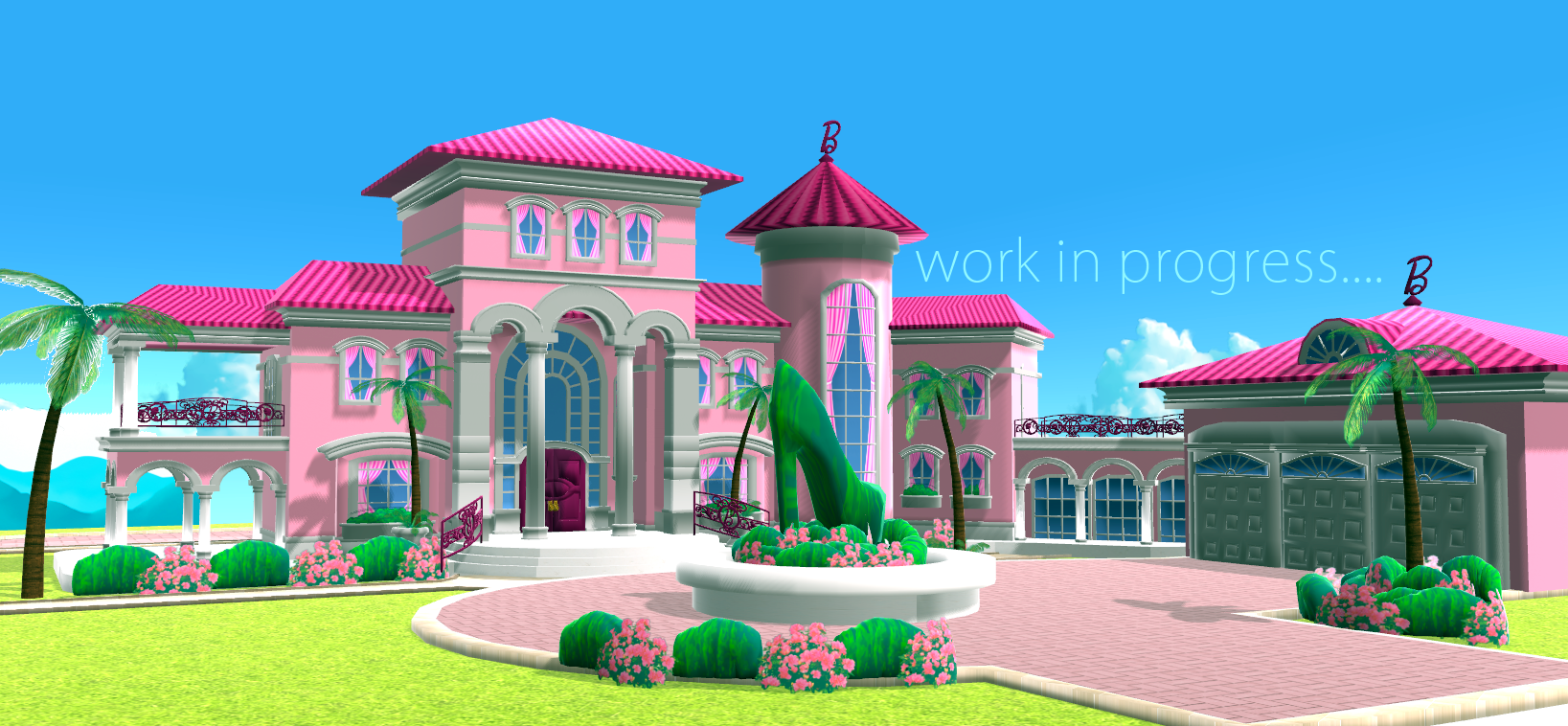 Barbie dream house wip 2 by chatterhead on deviantart for 3d wallpaper for dream home