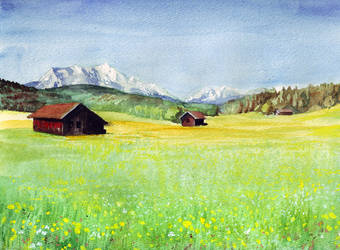 watercolor field by intelligencequotient