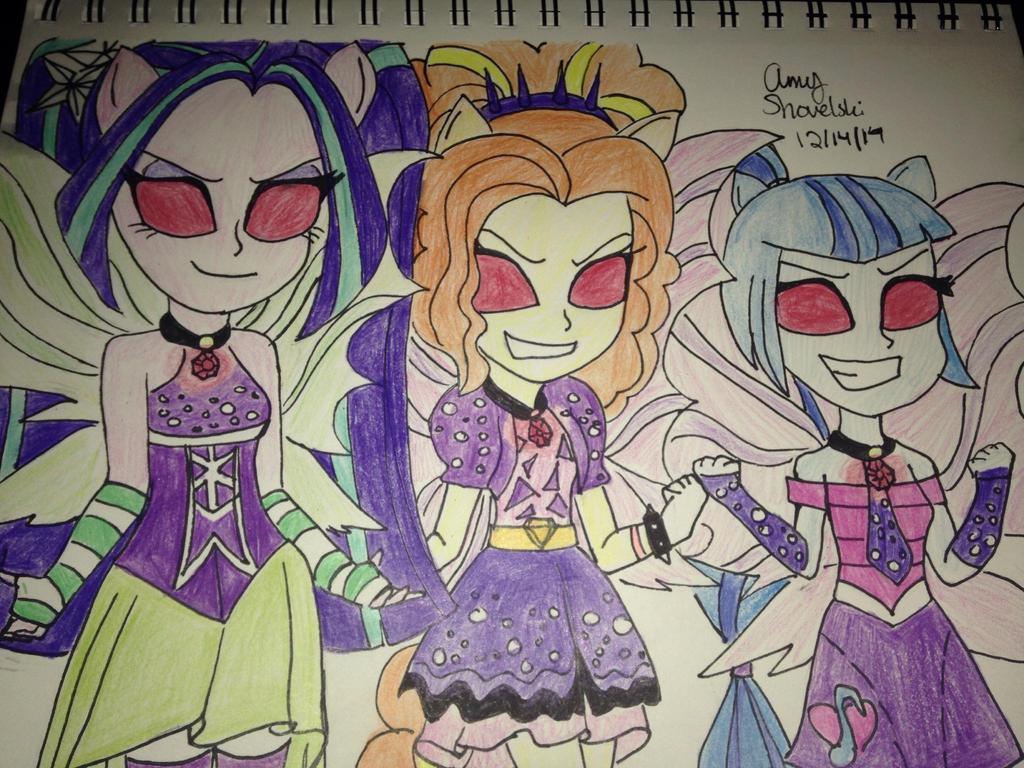 Mlp: EG Rainbow Rocks Evil Dazzlings  by MewRayearth15