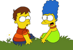 Little Homer and Marge by HeinousFlame