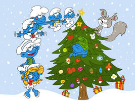 The Smurfs Christmas by HeinousFlame