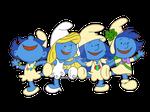 Peanuts Smurfs by HeinousFlame