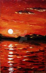 Sunset on the sea by MunaMahmoud