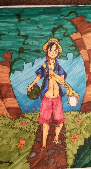 Strong World Luffy! *cheap art crap challenge* by Tigerghosts
