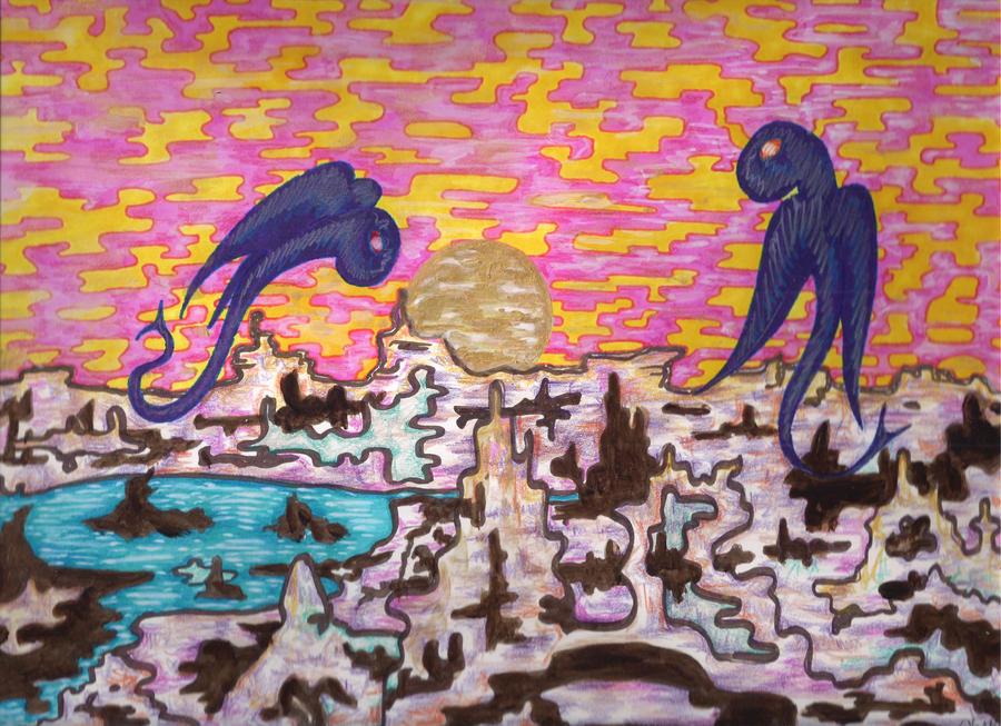 Dragons Meet Over Alien Landscape by misterwackydoodle