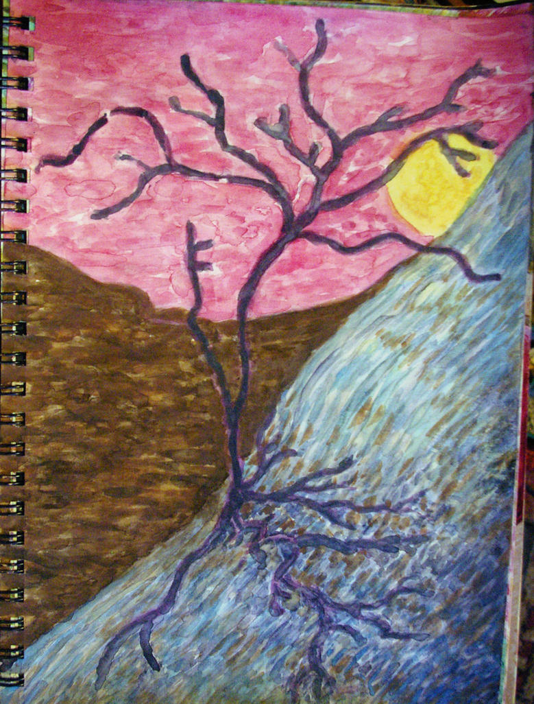 Hilly Landscape With Abstract Tree, Sketch 2015 by misterwackydoodle