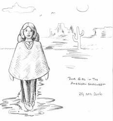 Blue Girl -- American Southwest -- pencil sketch