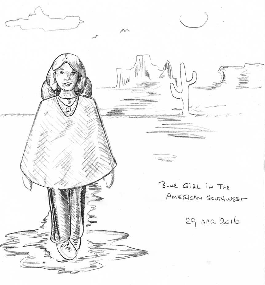 Blue Girl -- American Southwest -- pencil sketch by misterwackydoodle