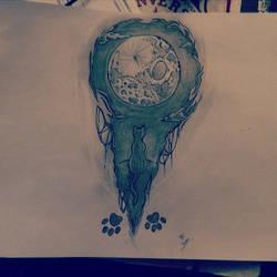 Tattoo - Cat looks the moon by Fallen-Swallow