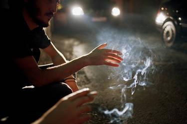sidewalk smoking by Gonzale