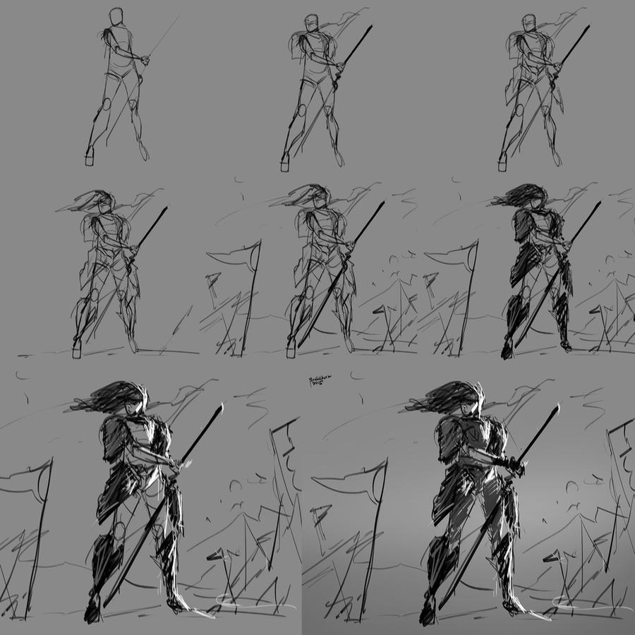 Action Pose Tutoria WIPl_Quick Sketch101 by benedickbana