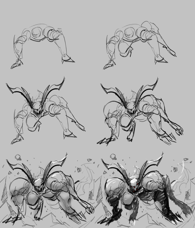 Action Pose Tutorial WIP 103 Quick Sketch by benedickbana