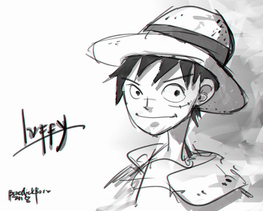 Quick Sketch Fanart Luffy by benedickbana