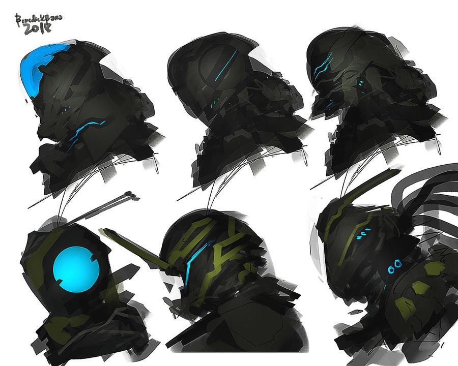 mechanized Helmet design set by benedickbana