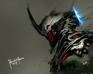 Digital Painting Cyber Demon with Video on Process by benedickbana