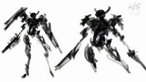 Speedpainting Samurai Cyber Ninja with YT