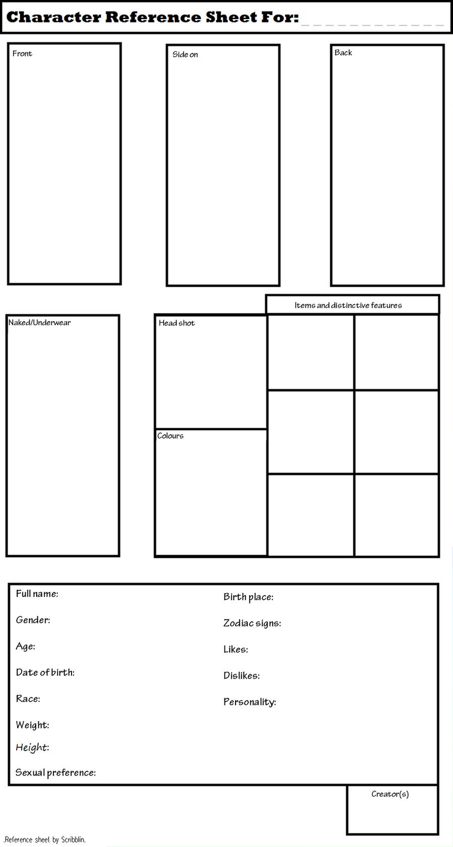 Character Design Ref Sheet : Blank reference sheet by scribblin on deviantart