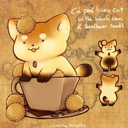 23. March calendar Teacats - ca phe trung by scribblin