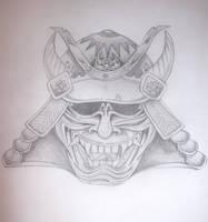 hanya samurai mask - tattoo by drewcarcrazy