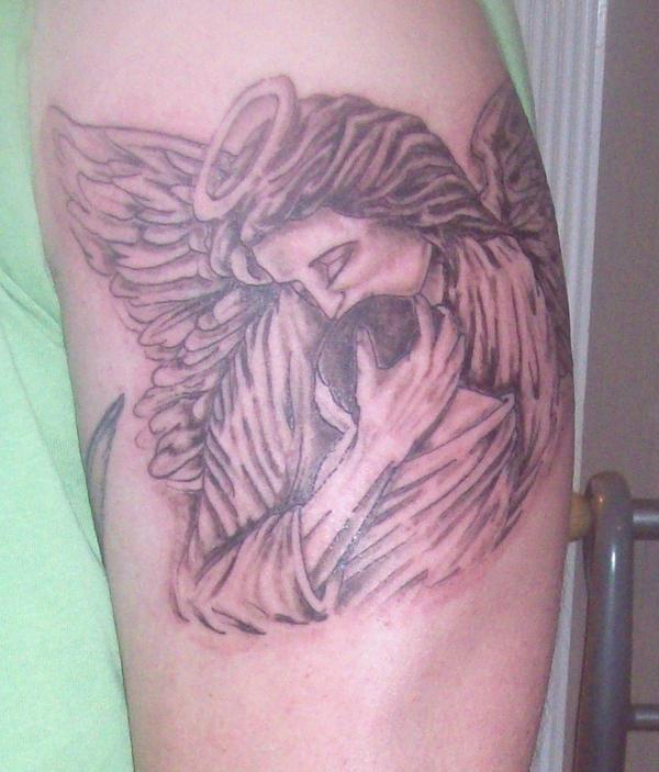 Baby angel tattoo stencil