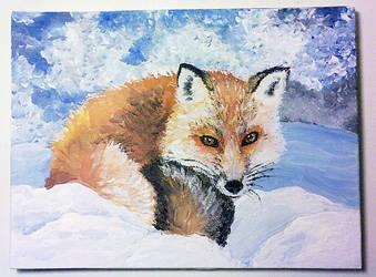 Snowy fox by ssilverartist