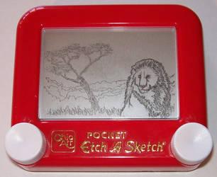 Etch a Sketch- Lion by jivu