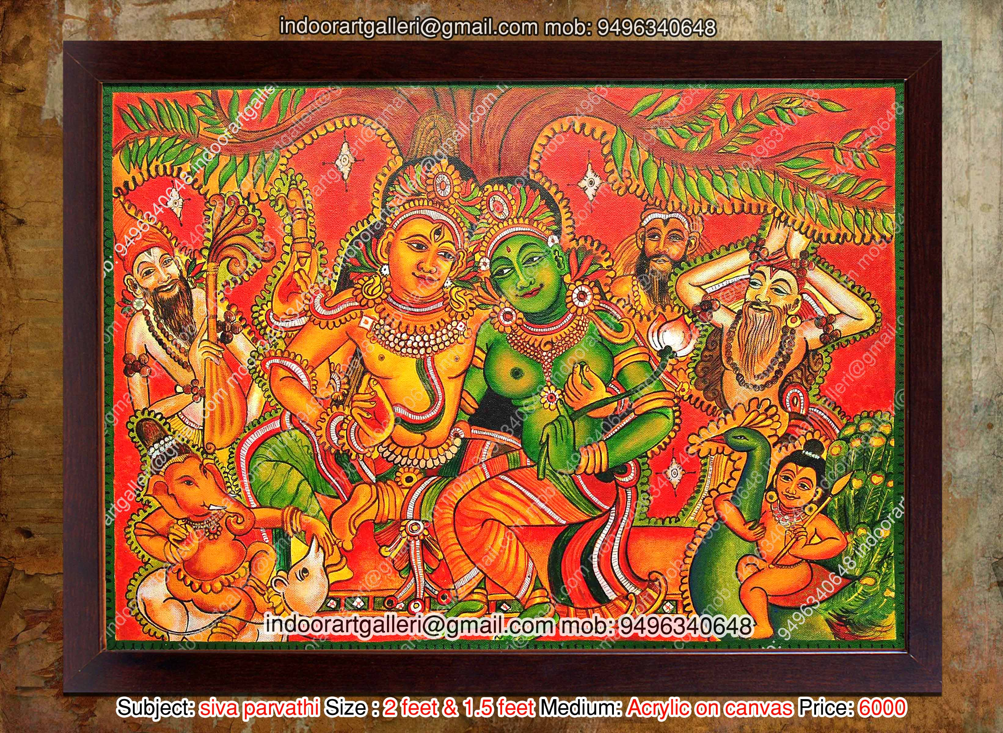 Siva parvathi mural painting by indoorartgalleri on deviantart for Canvas mural painting
